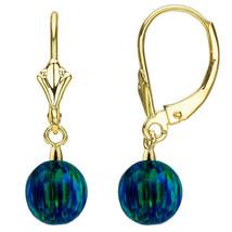 8mm Womens Unique 14K Yg Round Cut Dark Green Blue Opal Leaverback Earrings - $124.99