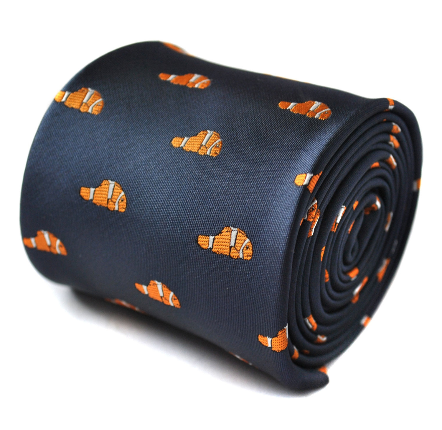 "navy tie with ""nemo"" orange guppy fish embroidered design with signature floral"