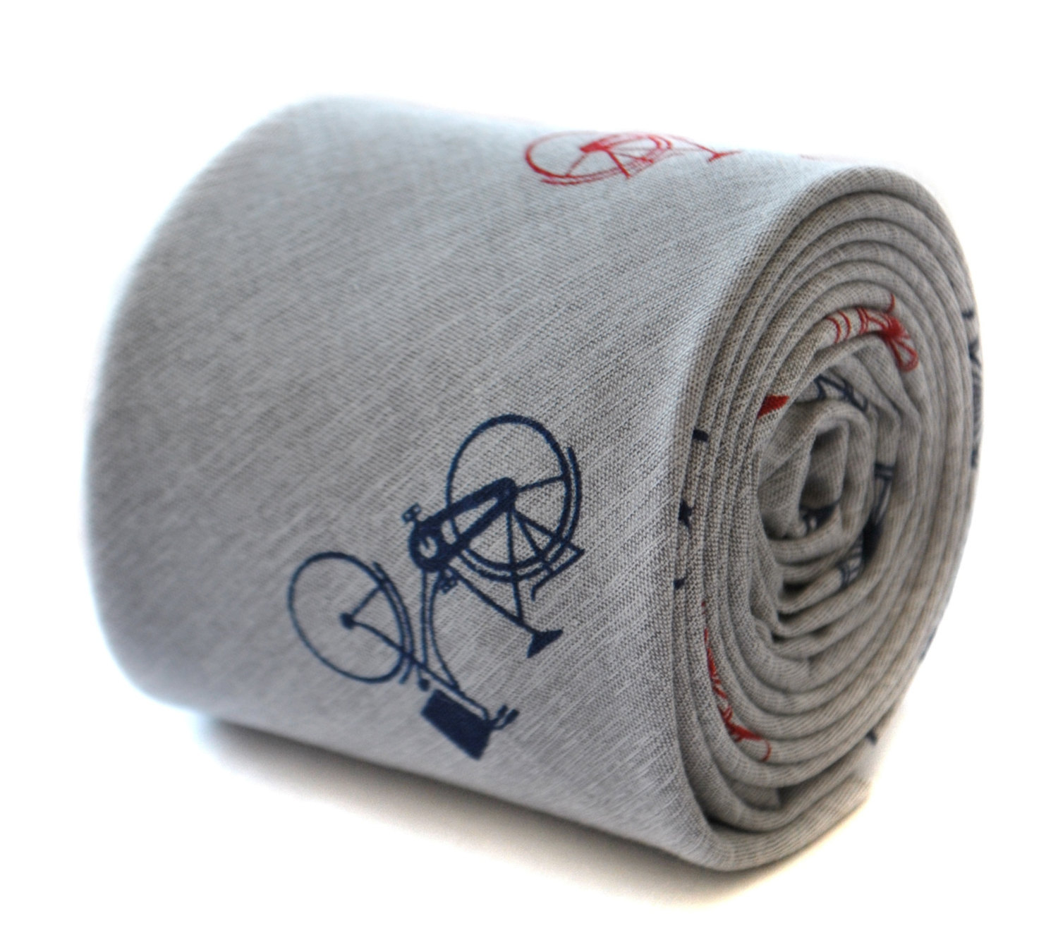 skinny pale grey linen tie with bicycle print design by Frederick Thomas FT1895