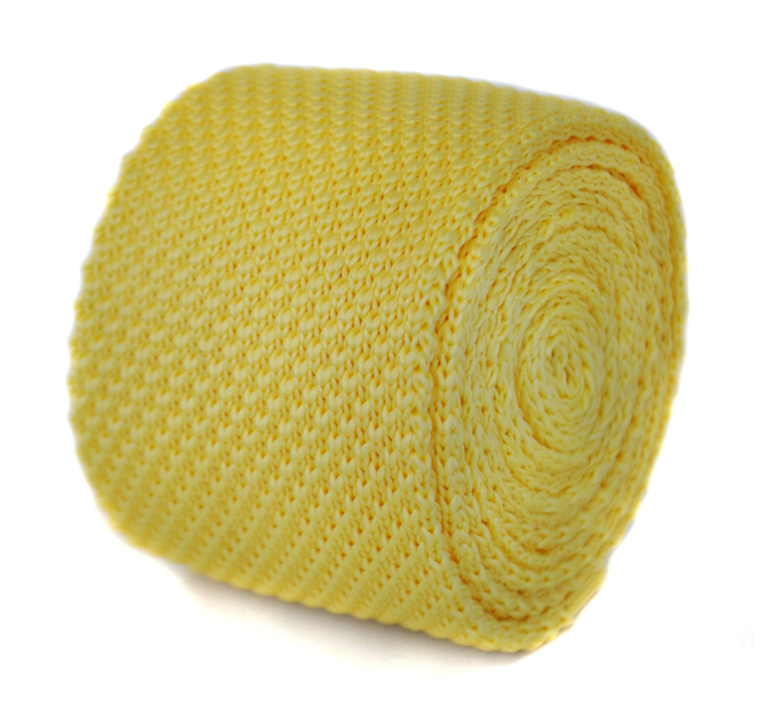 lemon yellow plain knitted tie by Frederick Thomas FT1846