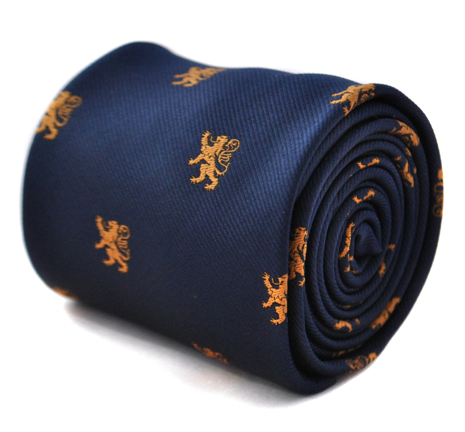 Navy tie with scottish lion design with signature floral design to the rear by F