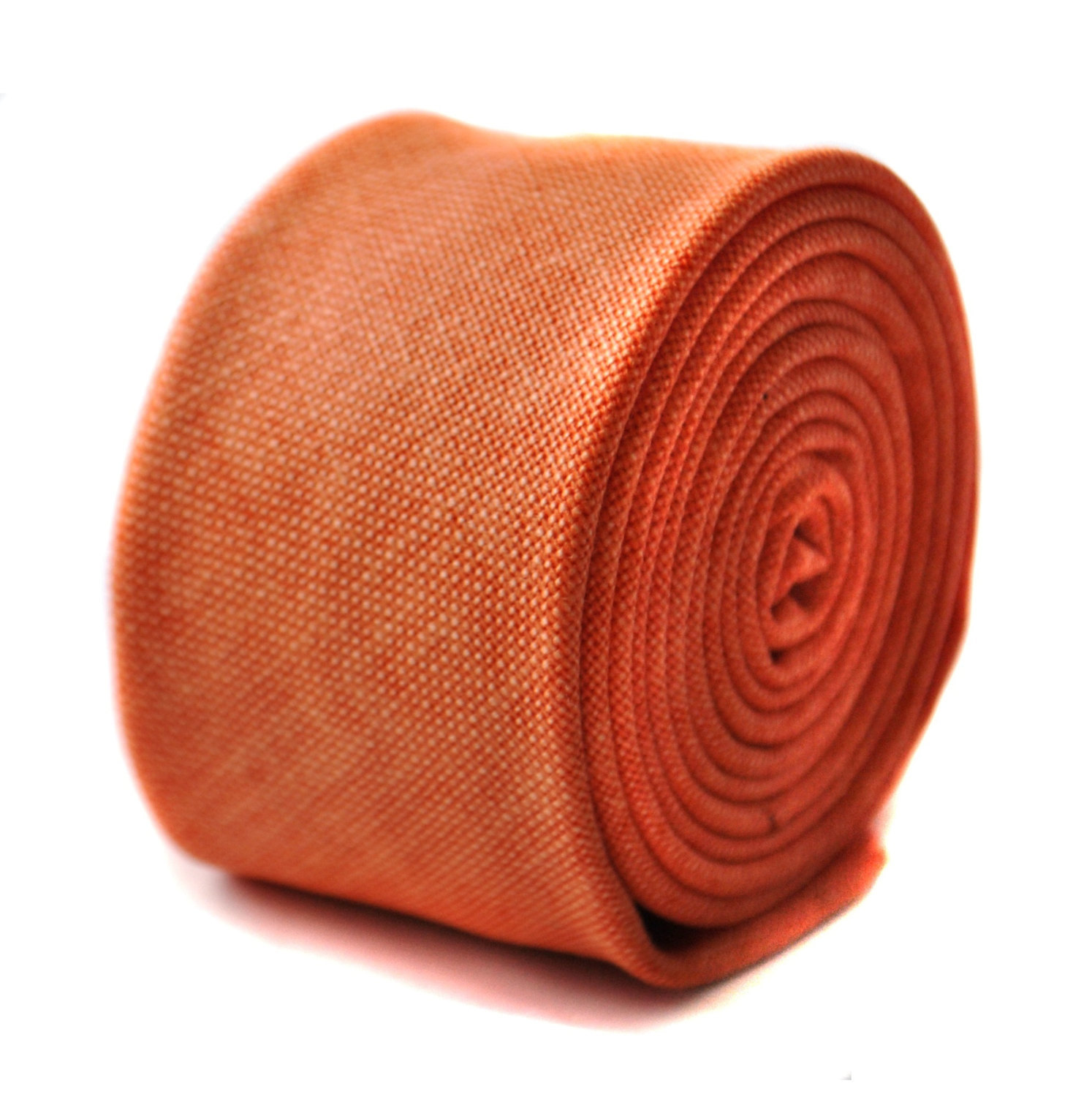 burnt orange skinny linen textured tie by Frederick Thomas FT1641