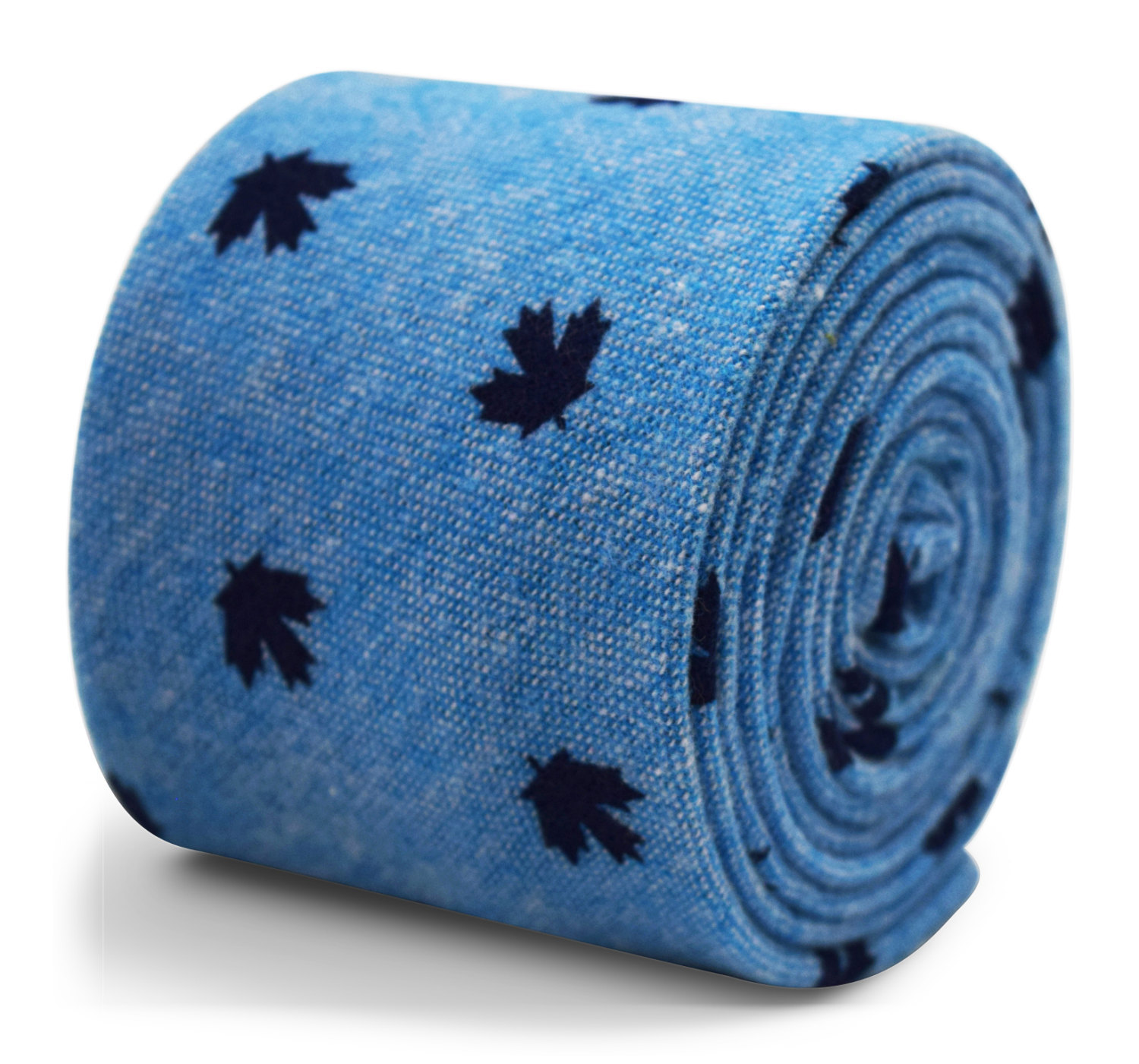 Frederick Thomas 100% cotton tie in light blue with Canadian maple leaf pattern
