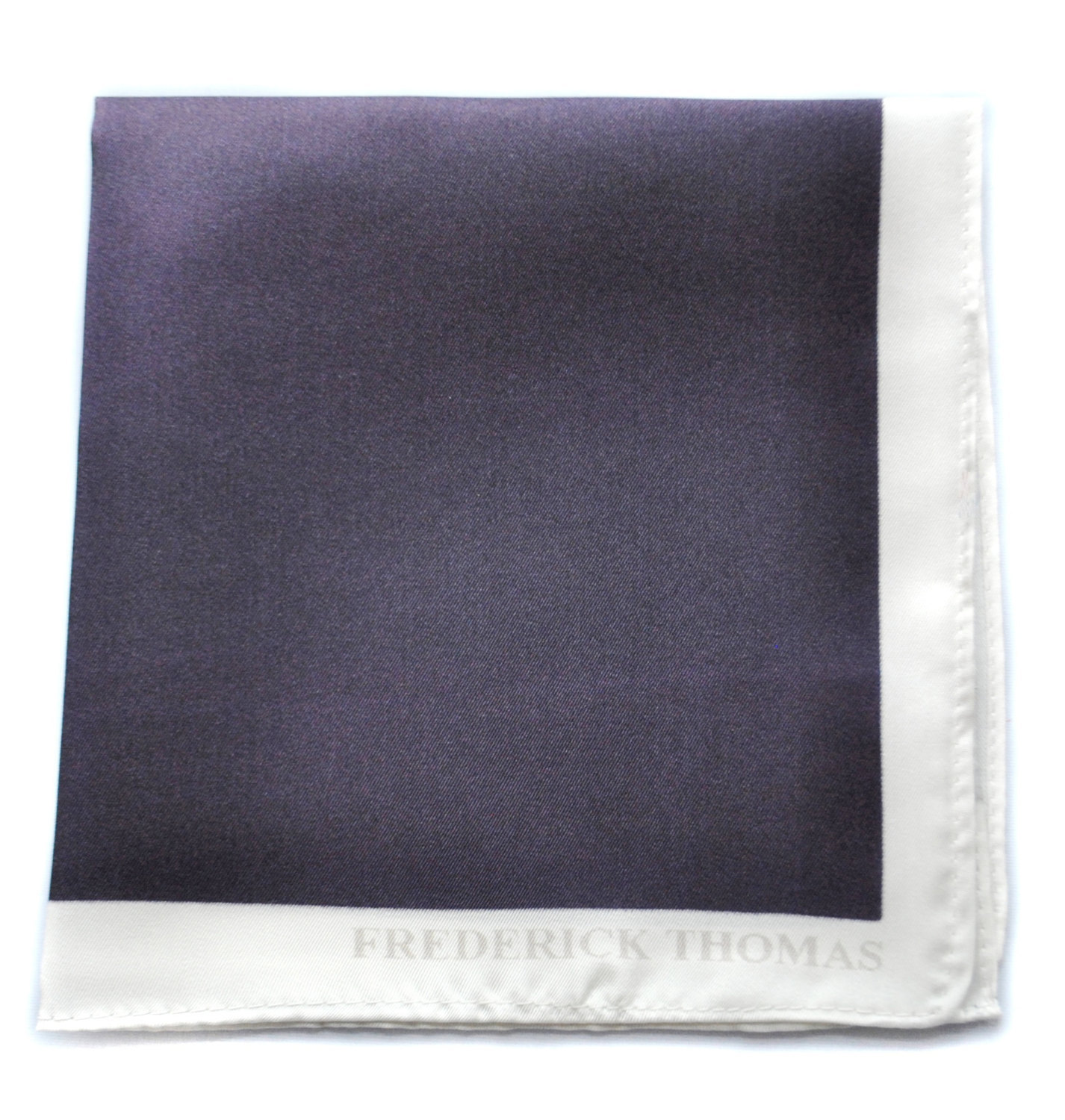Frederick Thomas dark purple pocket square with white edging FT1654