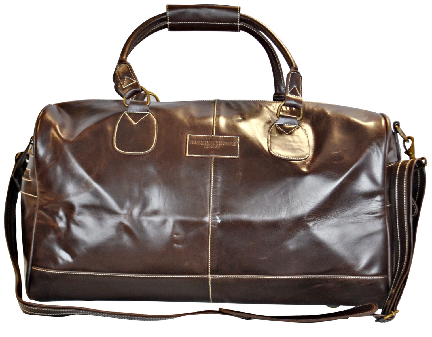 Chocolate brown leather weekend holdall overnight bag with genuine leather handl