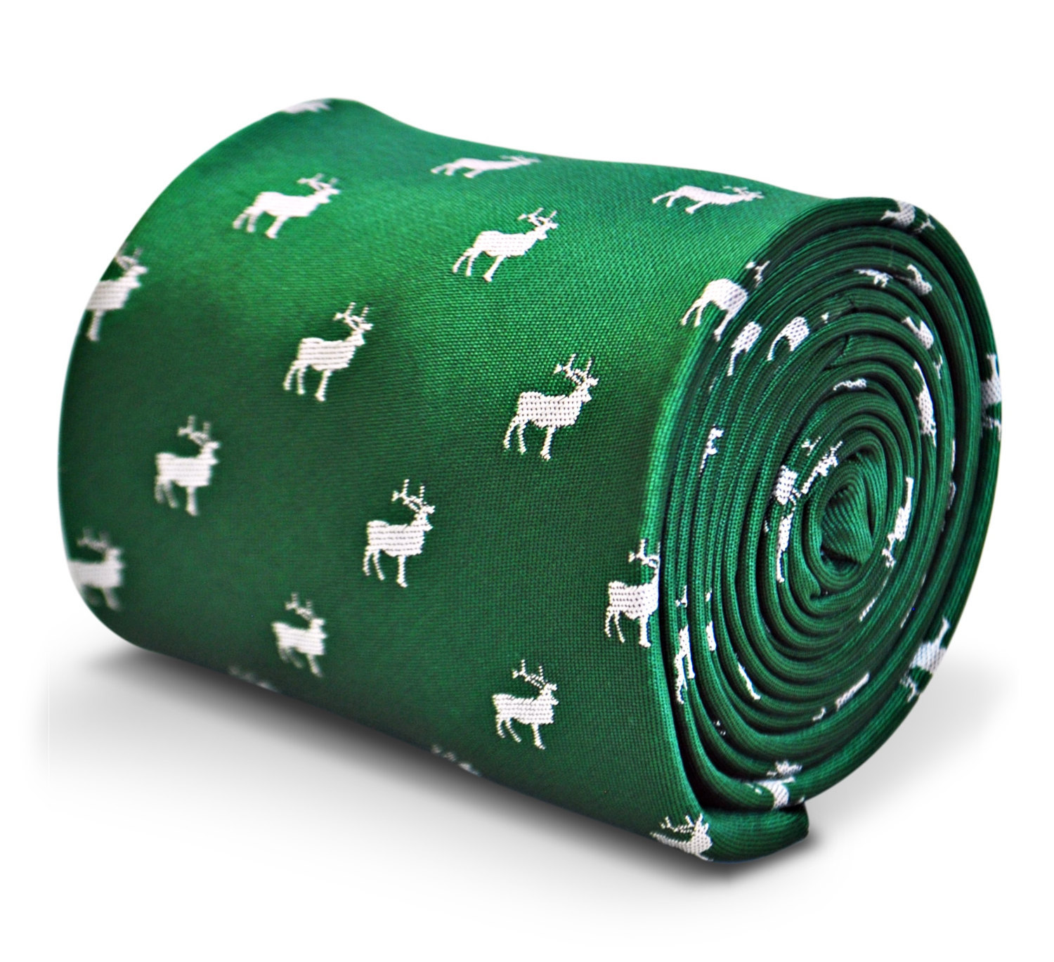 green tie with stag deer embroidered design with signature floral design to the