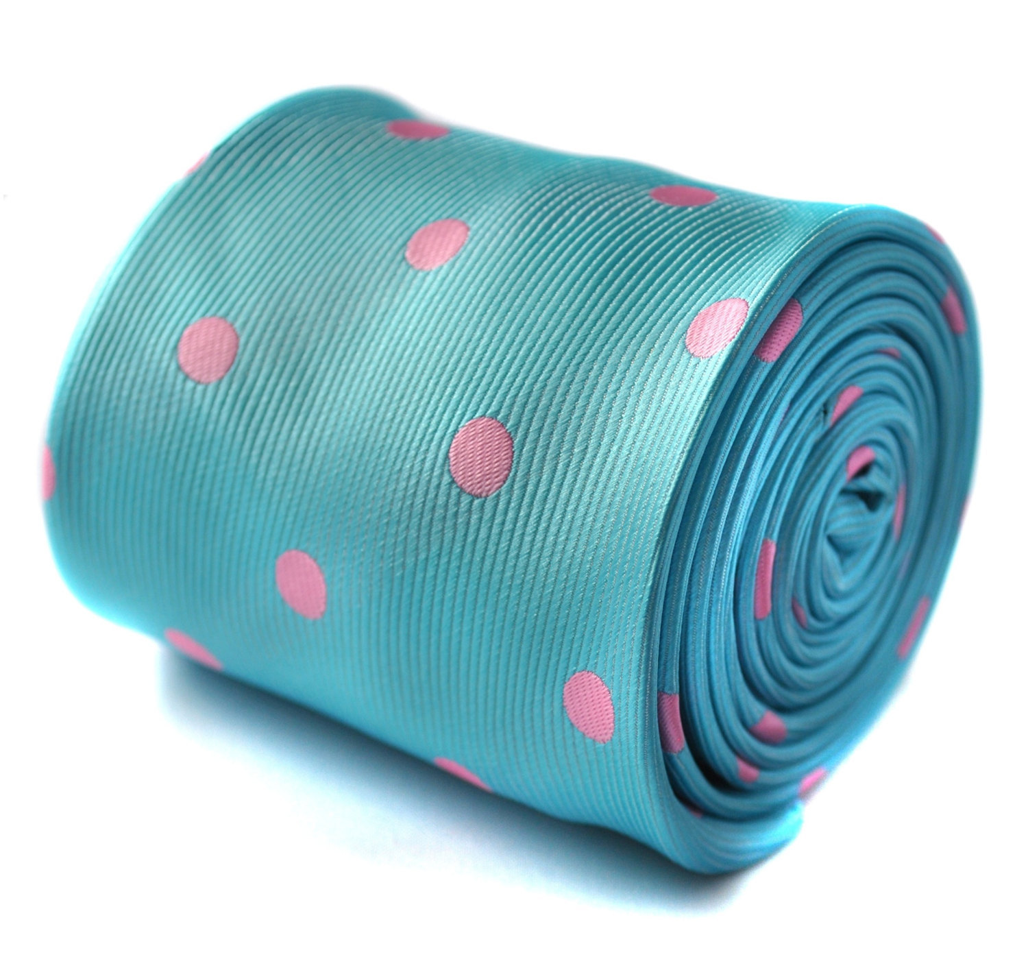 turquoise and pink polka spot tie with signature floral design to the rear by Fr