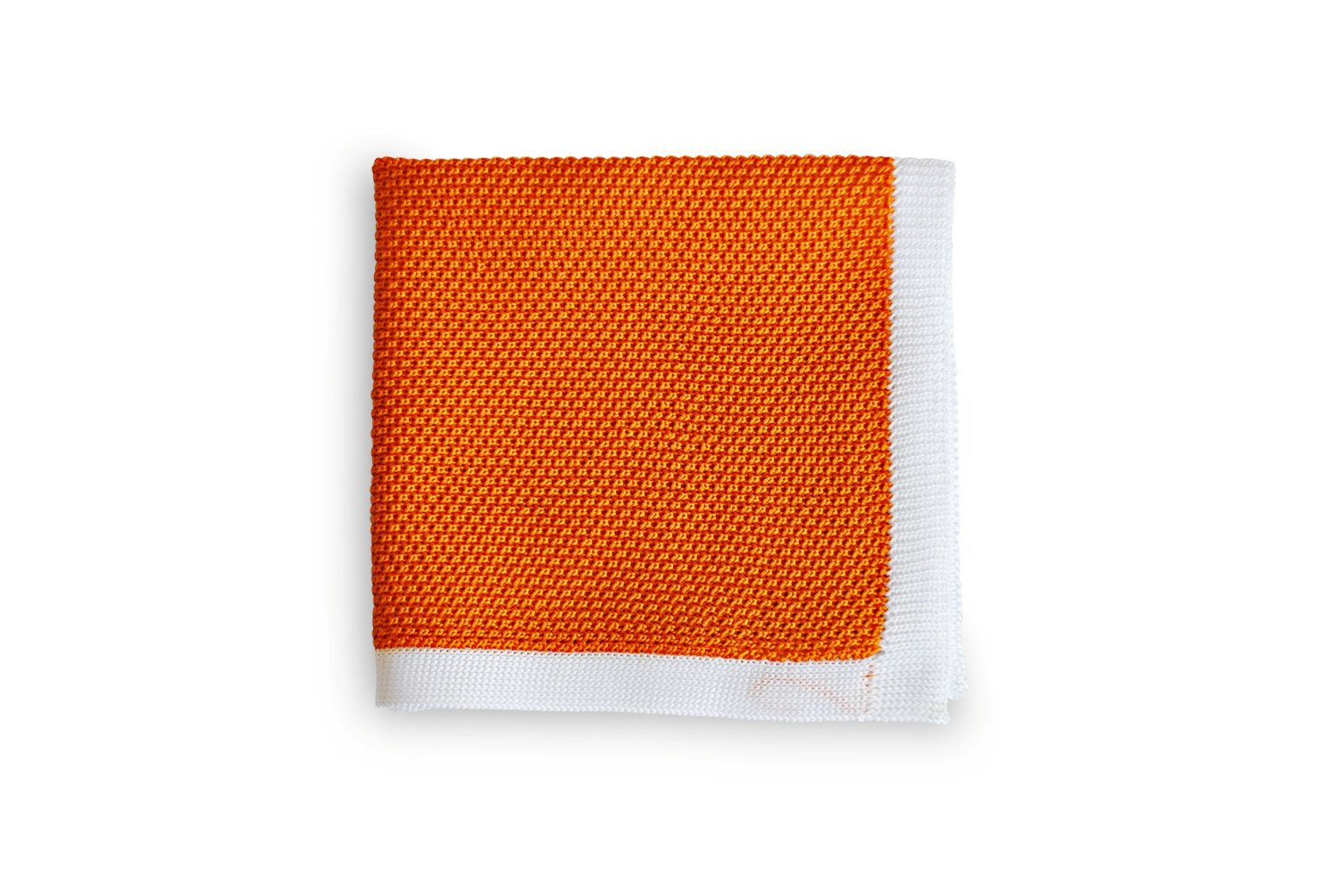 Frederick Thomas knitted Orange pocket square with White Edging FT3175