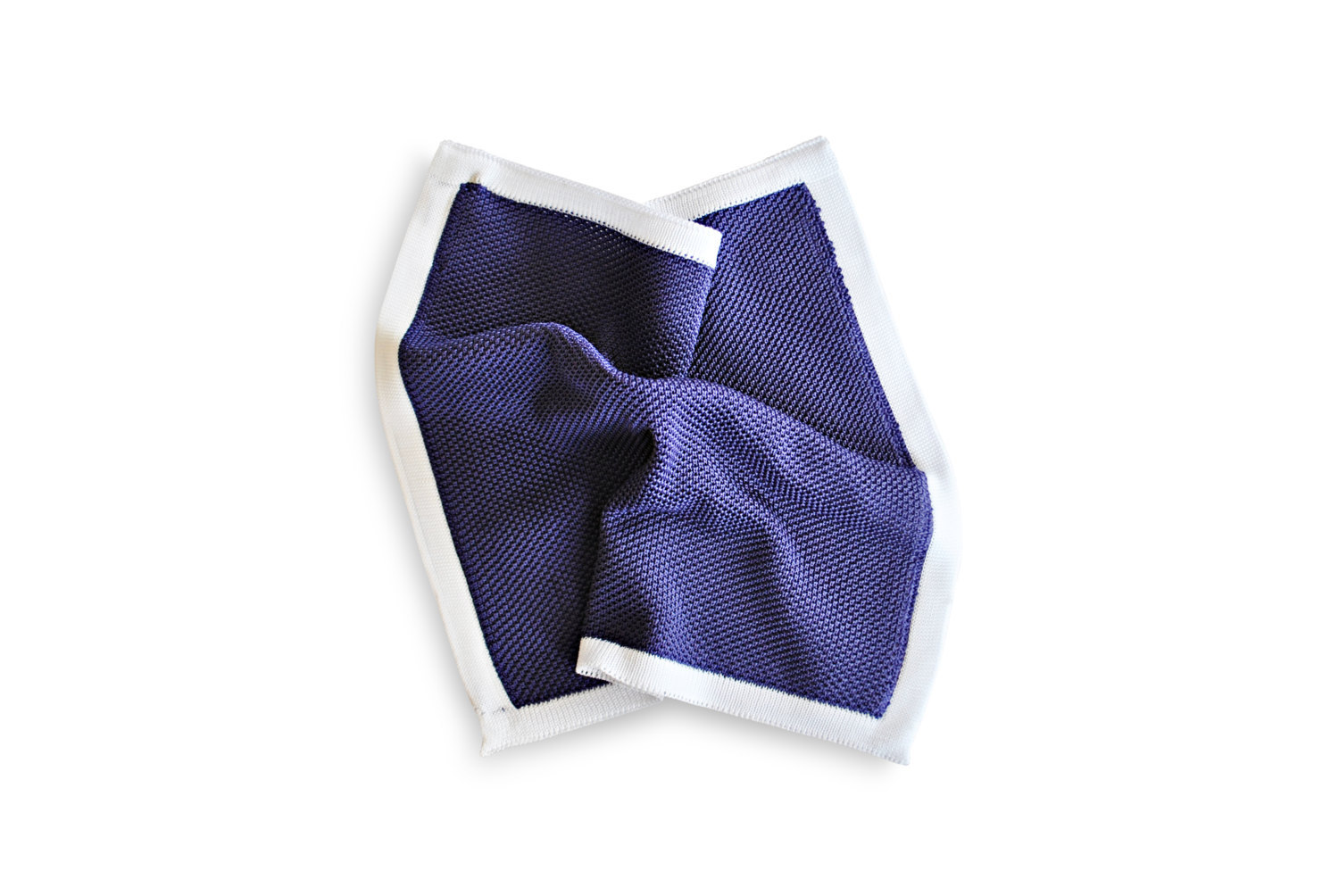 Frederick Thomas knitted Purple pocket square with White Edging FT3183