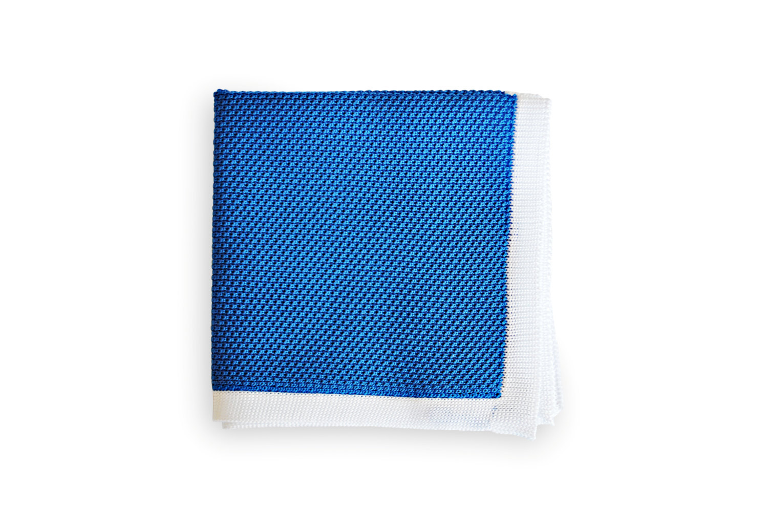 Frederick Thomas knitted Cobalt Blue with White Edging pocket square with white