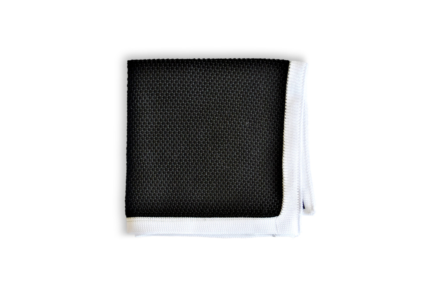 Frederick Thomas knitted Black with White Edging pocket square with white edging
