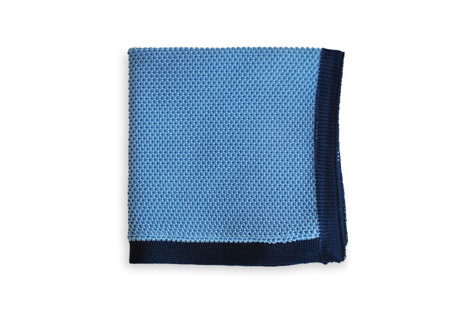 Frederick Thomas knitted Pale Blue with Navy Blue Edging pocket square with whit