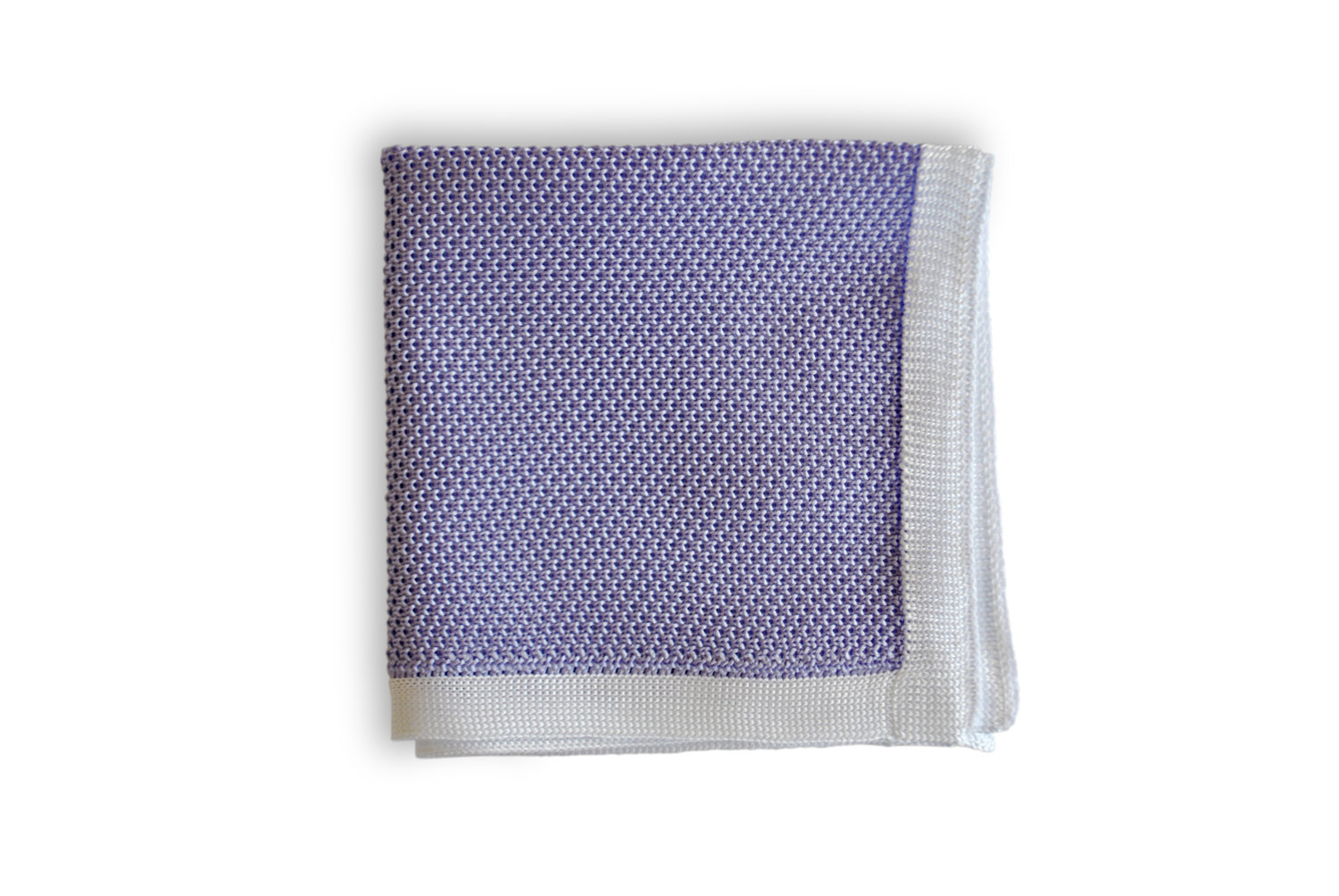 Frederick Thomas knitted Light Purple with White Edging pocket square with white