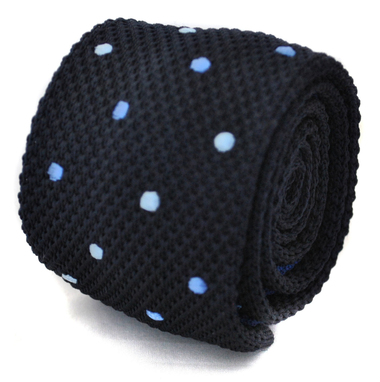 knitted navy with blue spotted skinny tie by Frederick Thomas FT1172