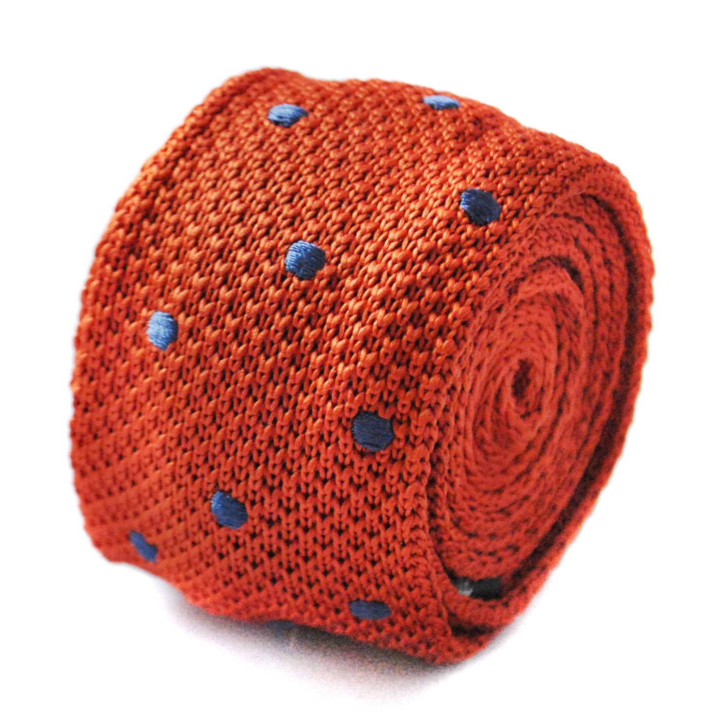 Knitted orange and dark metallic blue spotted tie tie by Frederick Thomas FT1710