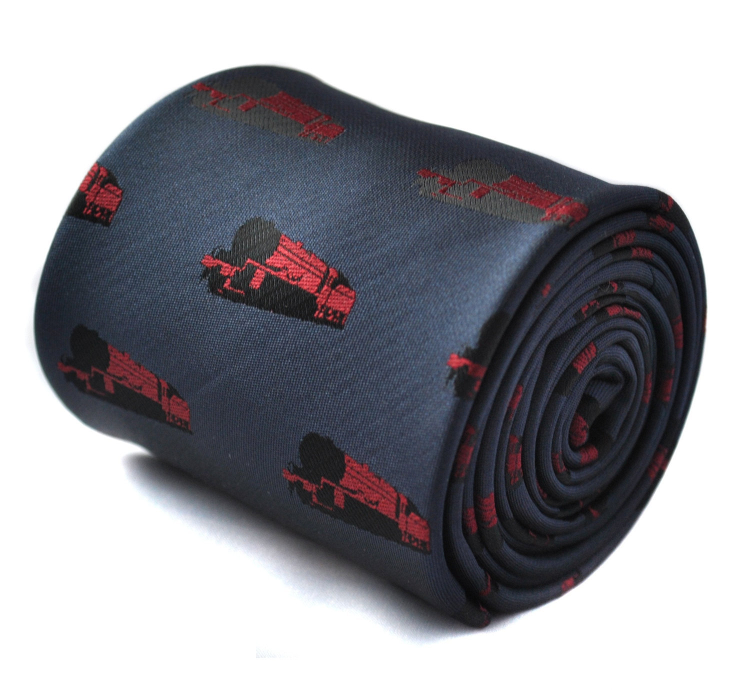 navy tie with steam engine train locomotive embroidered design with signature fl