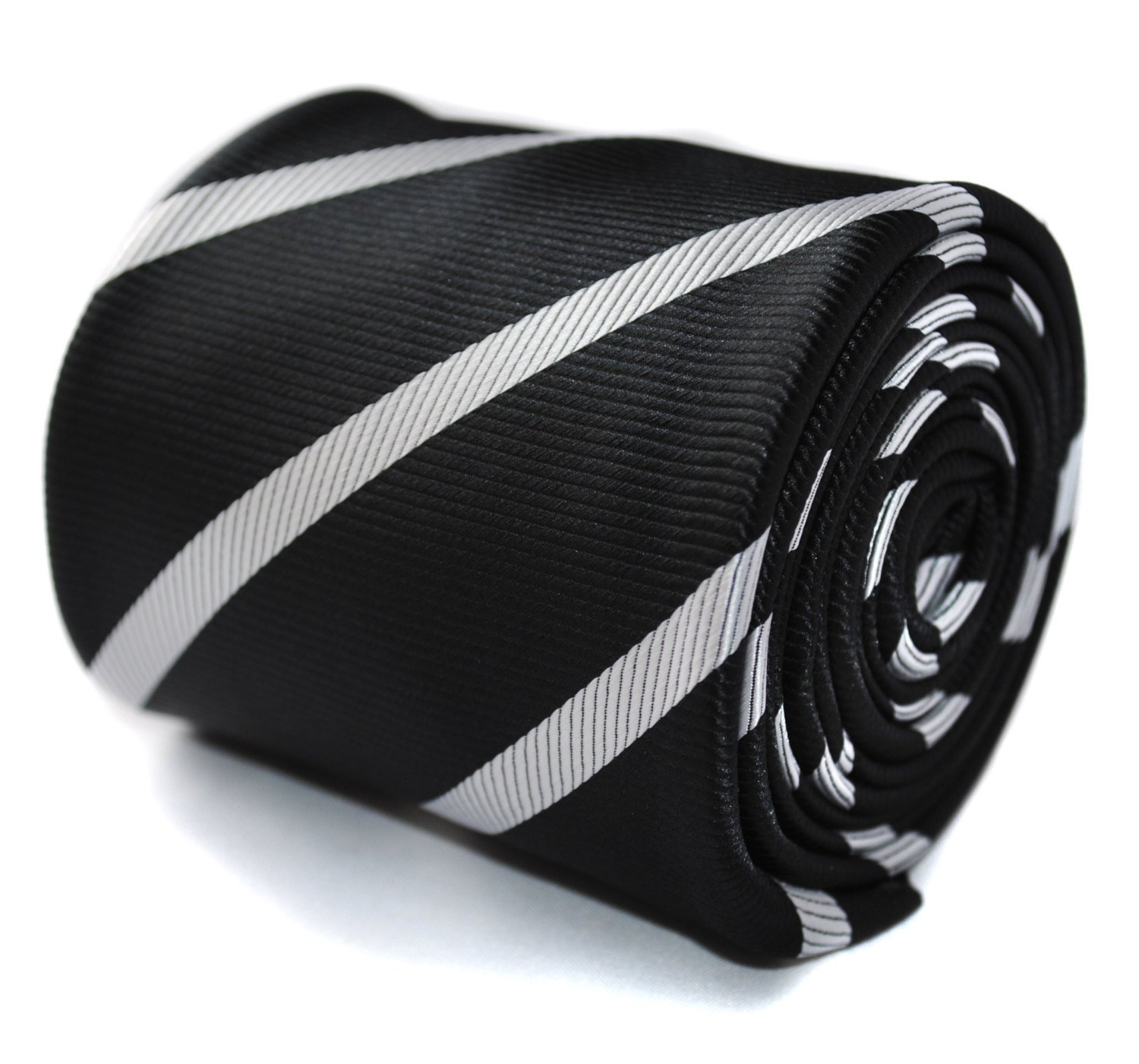 black with white club striped tie with signature floral design to the rear by Fr
