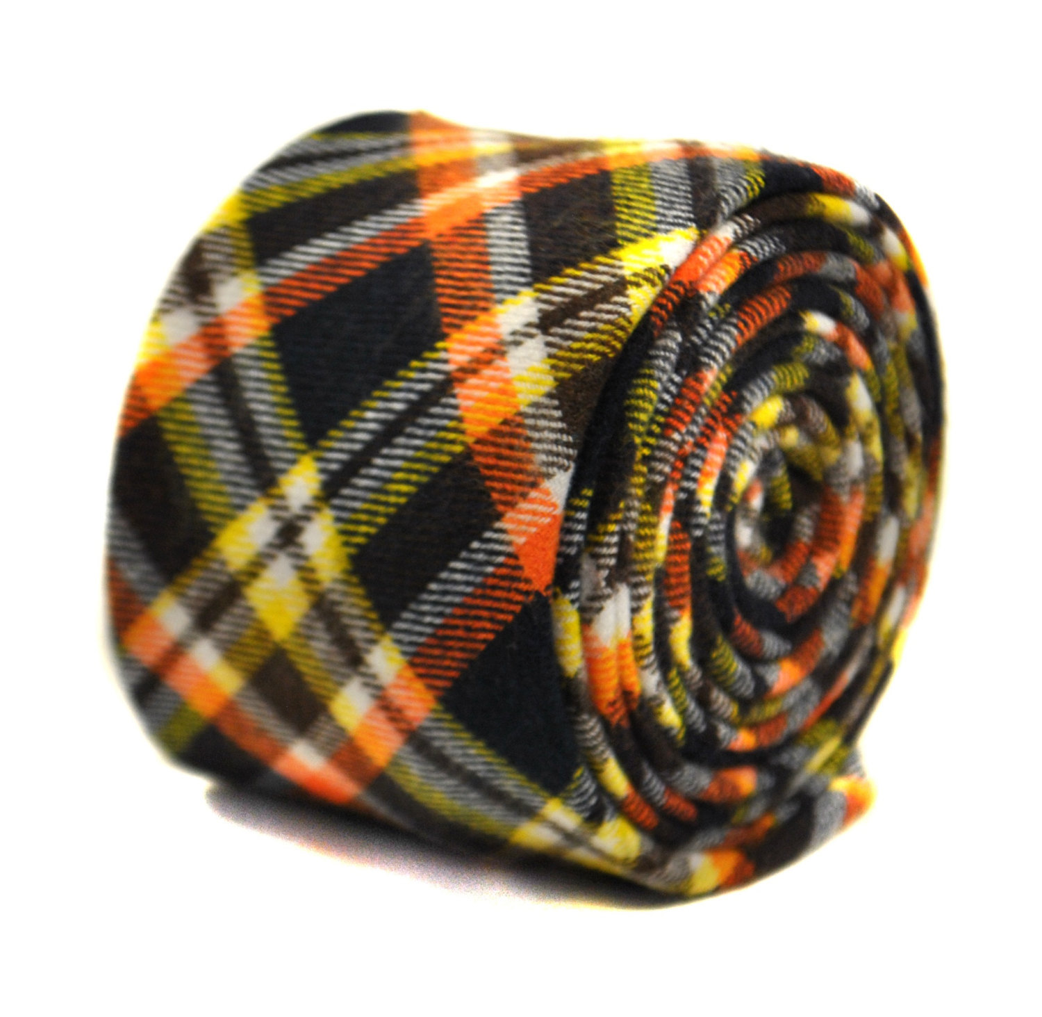 dark navy blue, yellow and orange checked 100% cotton tie by Frederick Thomas FT