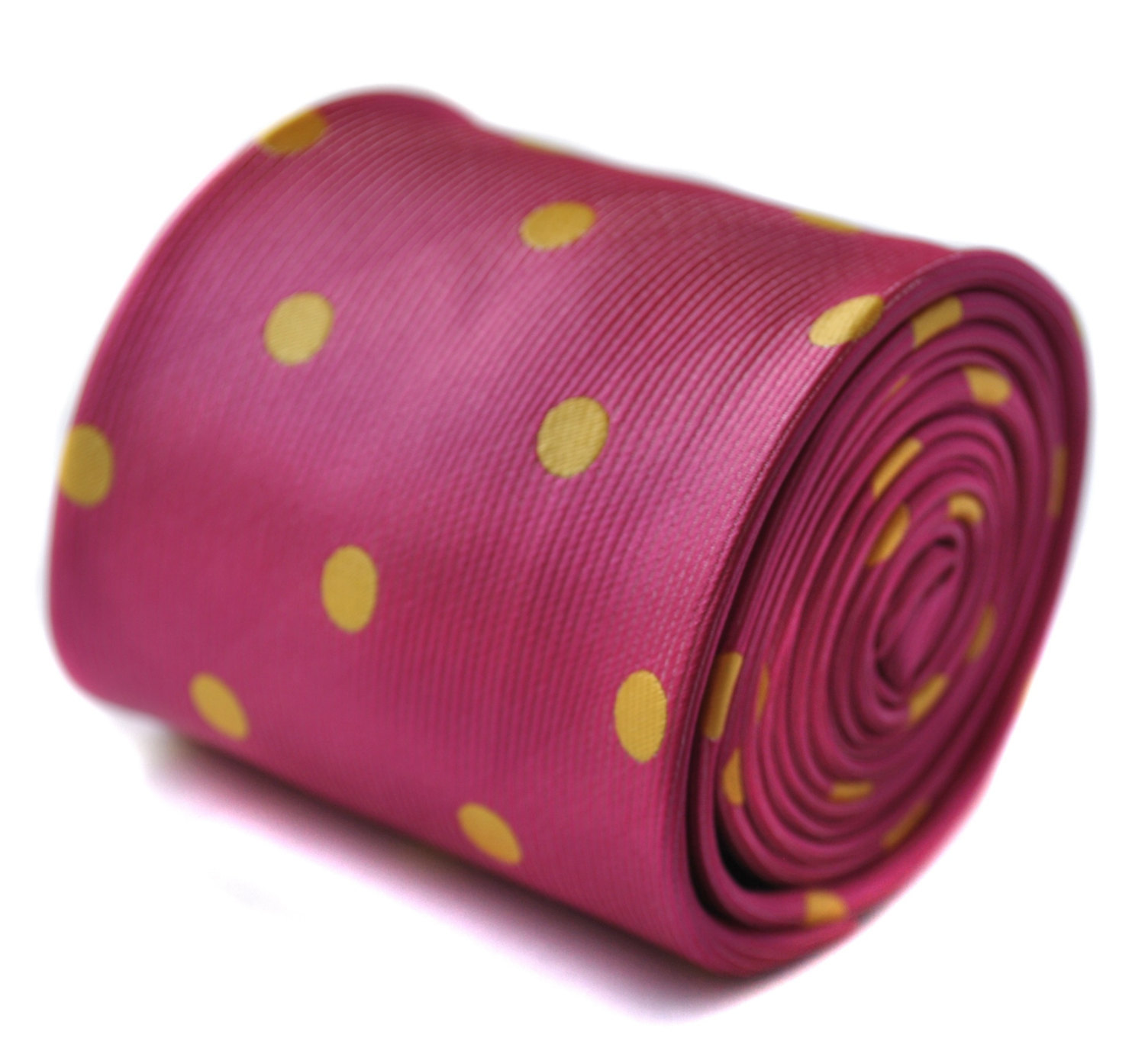 bright pink and yellow polka spot tie with signature floral design to the rear b