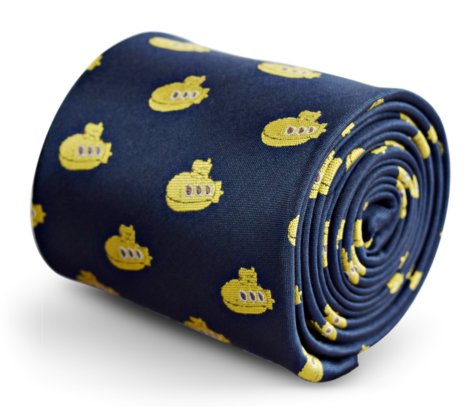navy tie with yellow submarine embroidered design with floral design to the rear