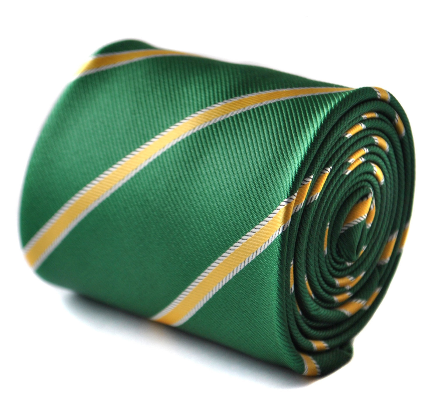 Green and yellow club stripe tie with signature floral design to the rear by Fre
