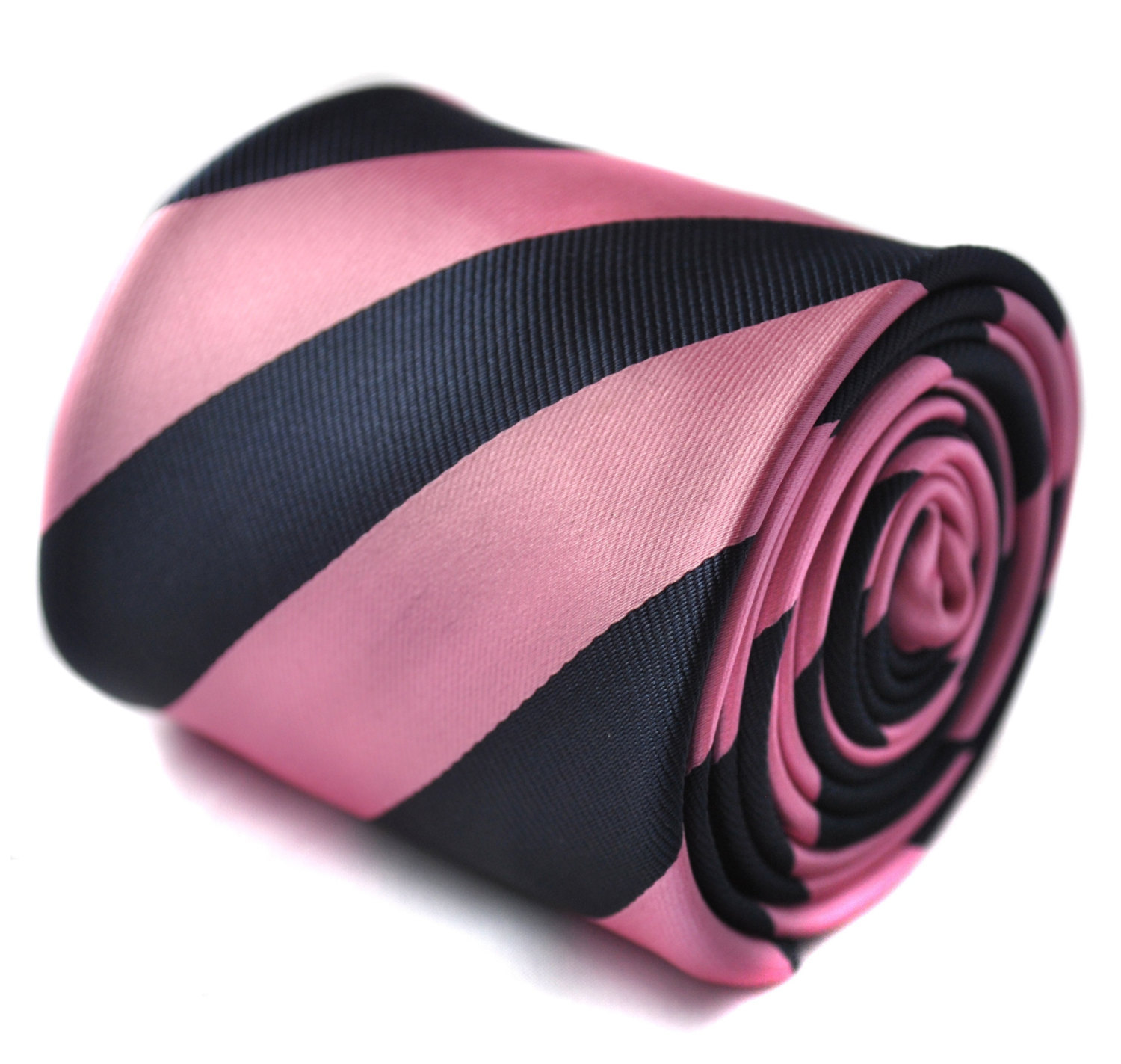 navy and pink barber striped tie with signature floral design to the rear by Fre