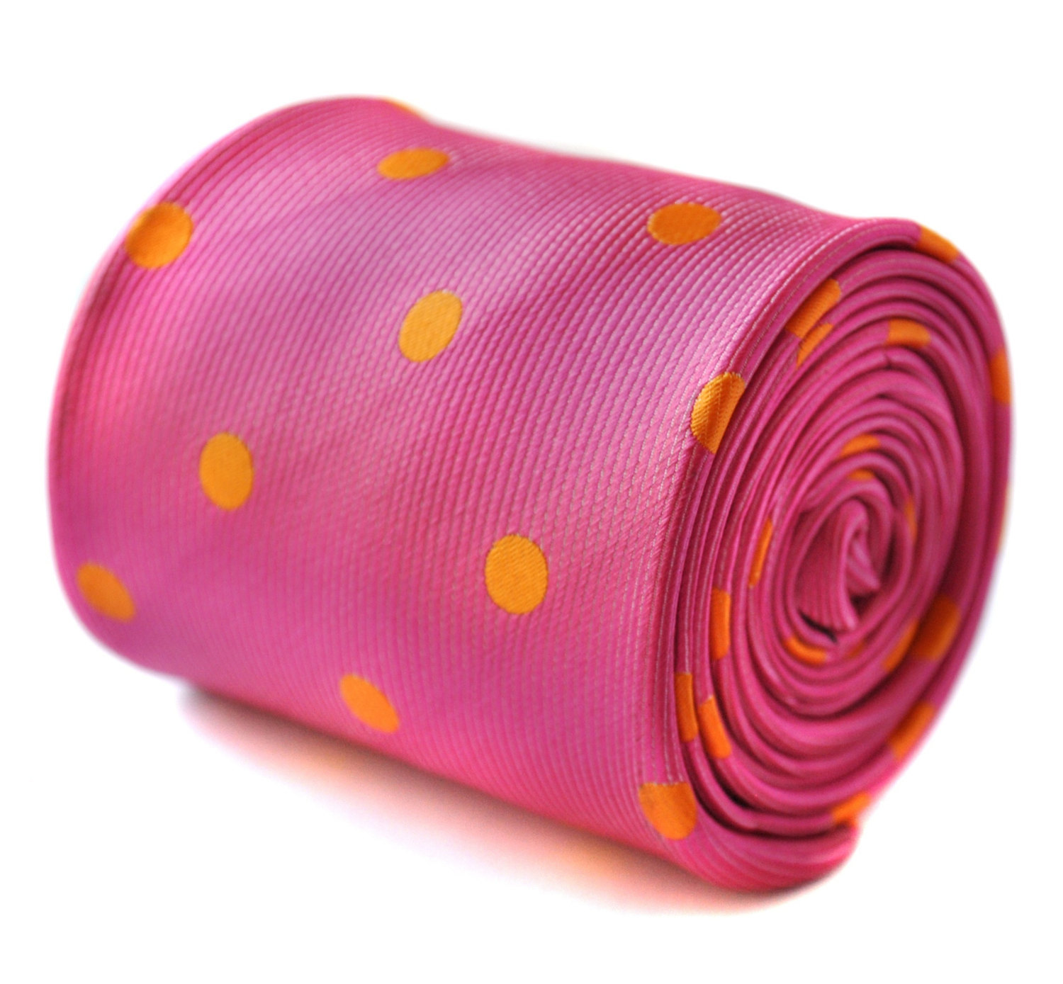 bright pink and orange polka spot tie with signature floral design to the rear b