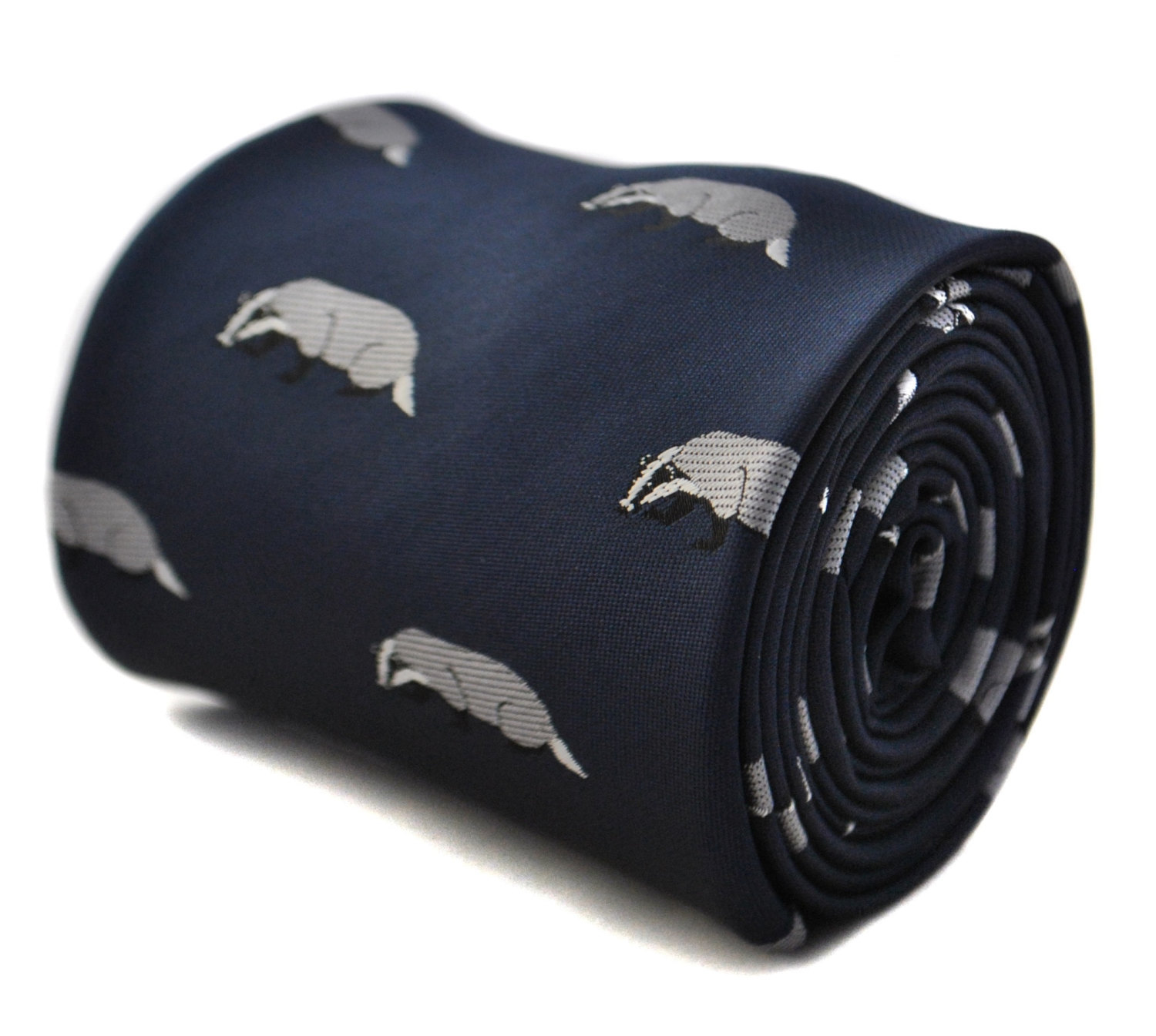 navy blue tie with badger embroidered design with signature floral design to the