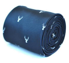navy blue tie with white deer head design with signature floral design to rear b