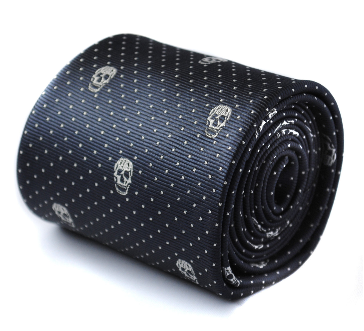 navy skulls design tie with signature floral design to rear by Frederick Thomas
