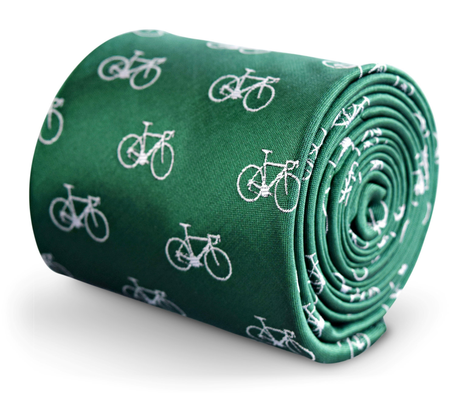 green tie with bicycle embroidered design with signature floral design to the re