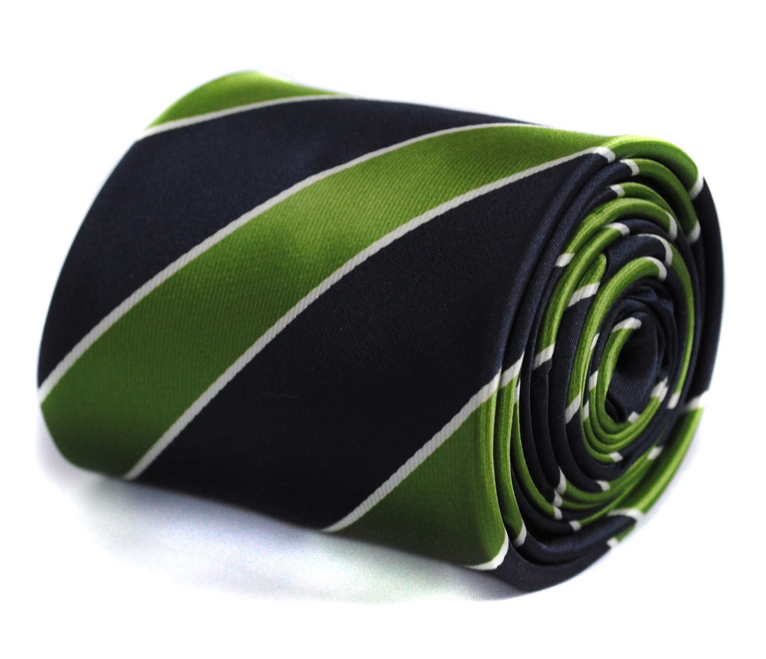 green, navy blue and white striped tie with signature floral design to the rear