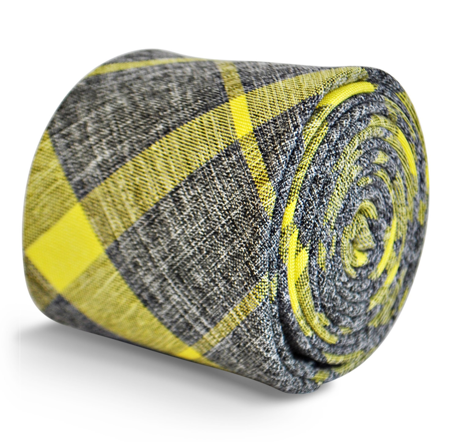 Frederick Thomas mens cotton linen tie in grey with yellow check FT3154