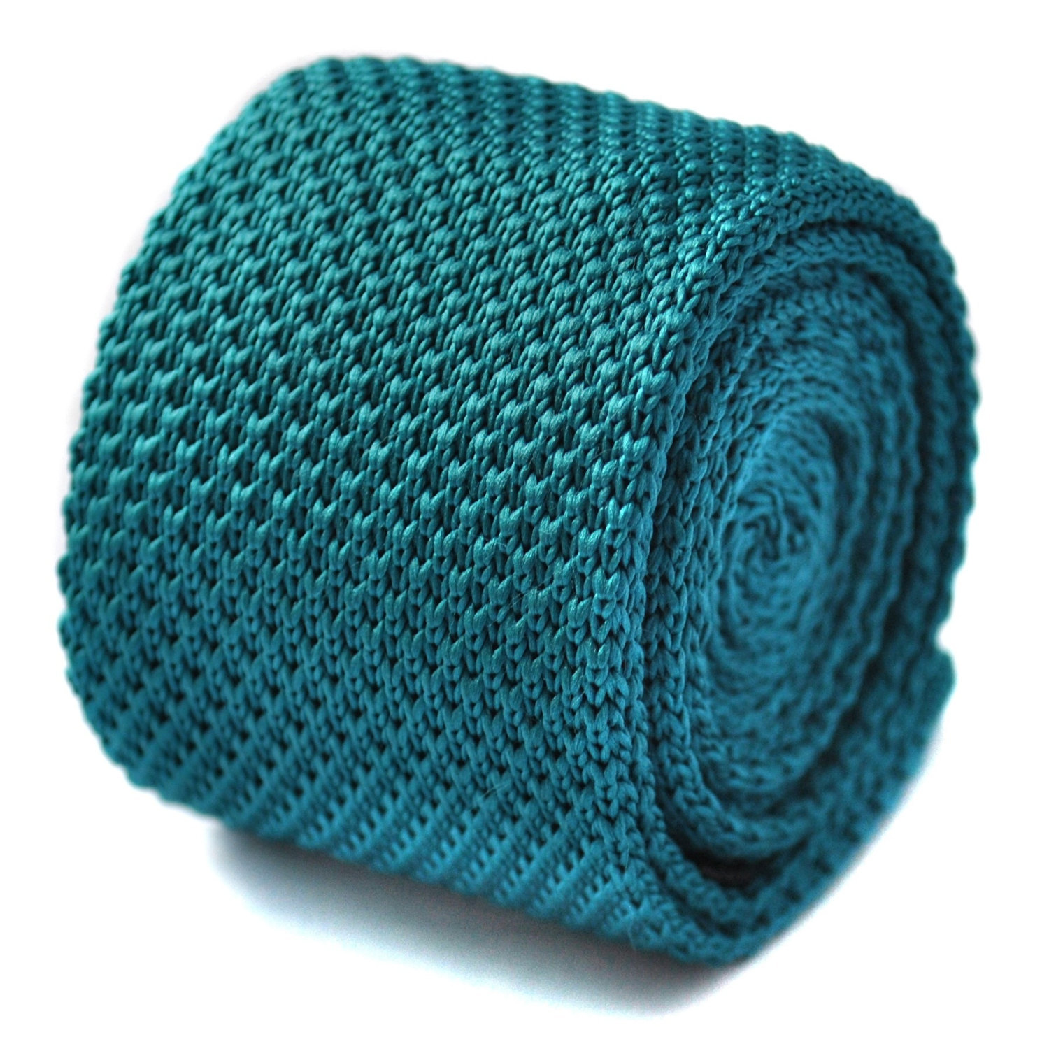 teal turquoise green plain knitted skinny tie by Frederick Thomas FT1576