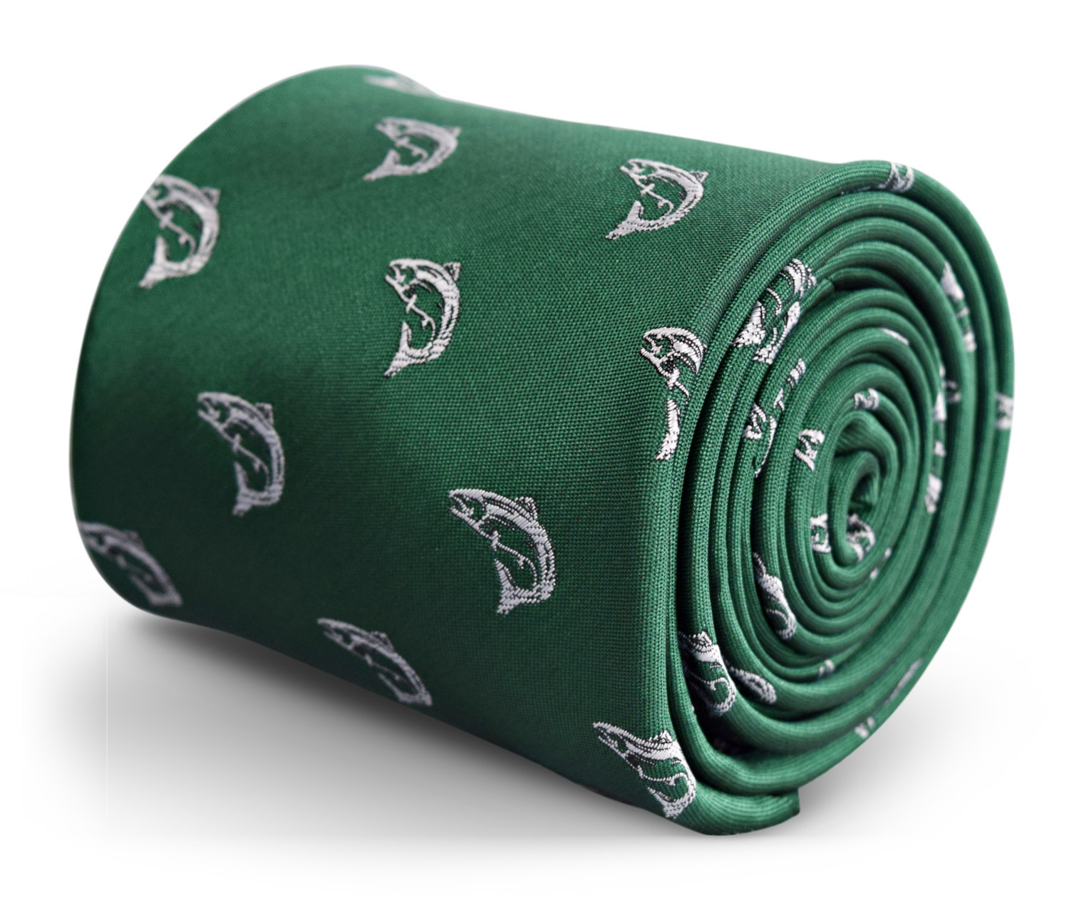 dark green tie with trout fish embroidered design with signature floral design t