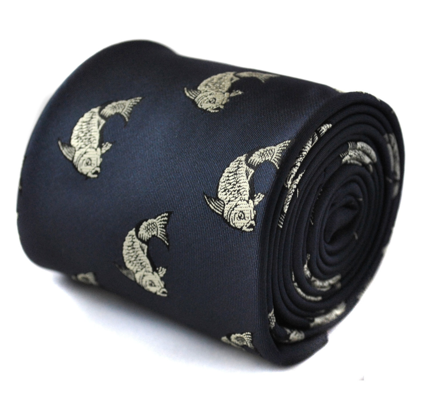 navy tie with koi carp tattoo embroidered design with signature floral design to