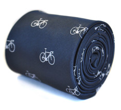 navy blue tie with bicycle design with signature floral design to the rear by Fr