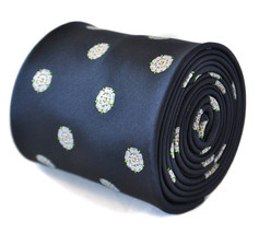 navy blue tie with white yorkshire rose design with signature floral design to t