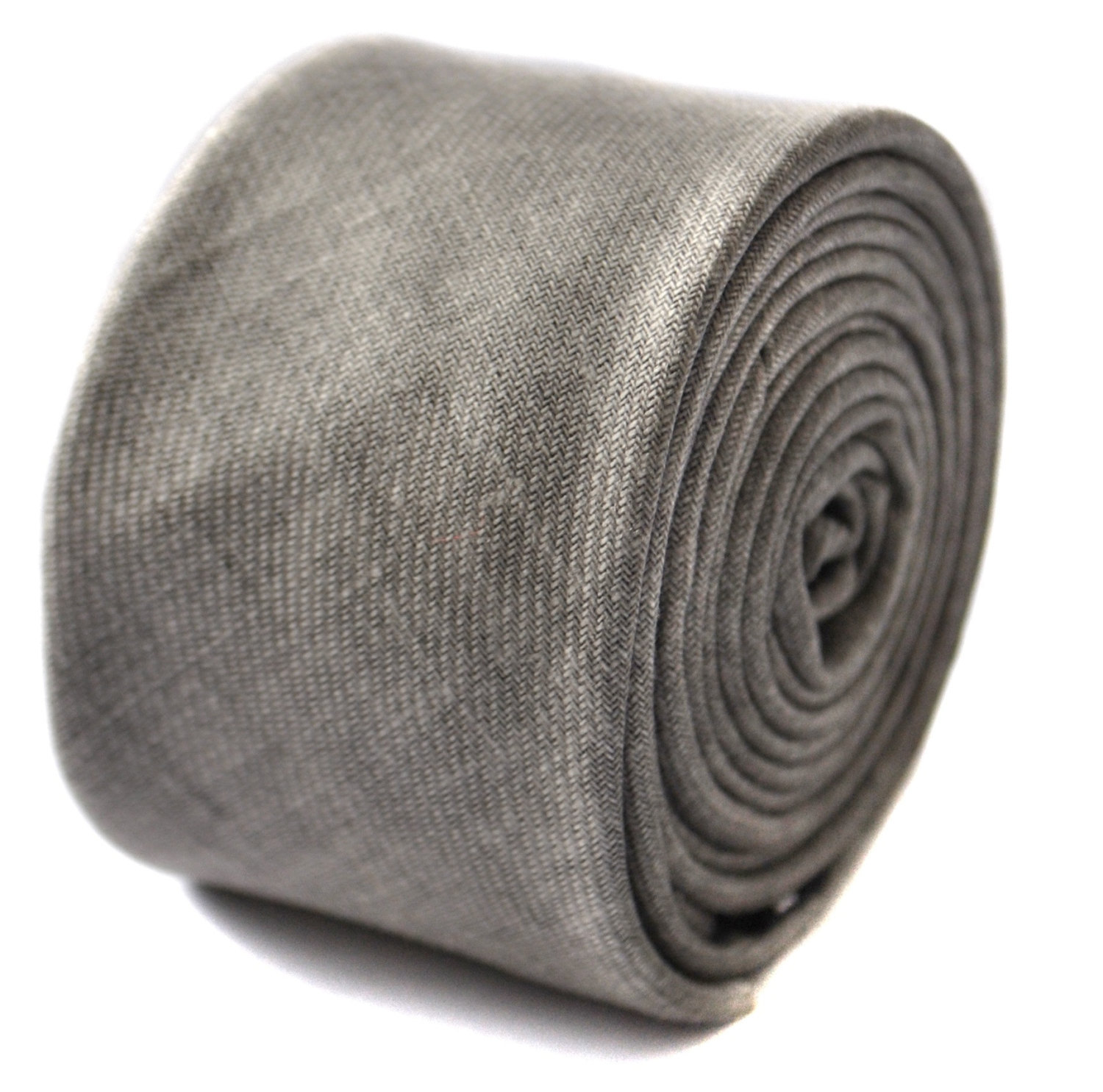 pale grey linen wool skinny tie by Frederick Thomas FT1672