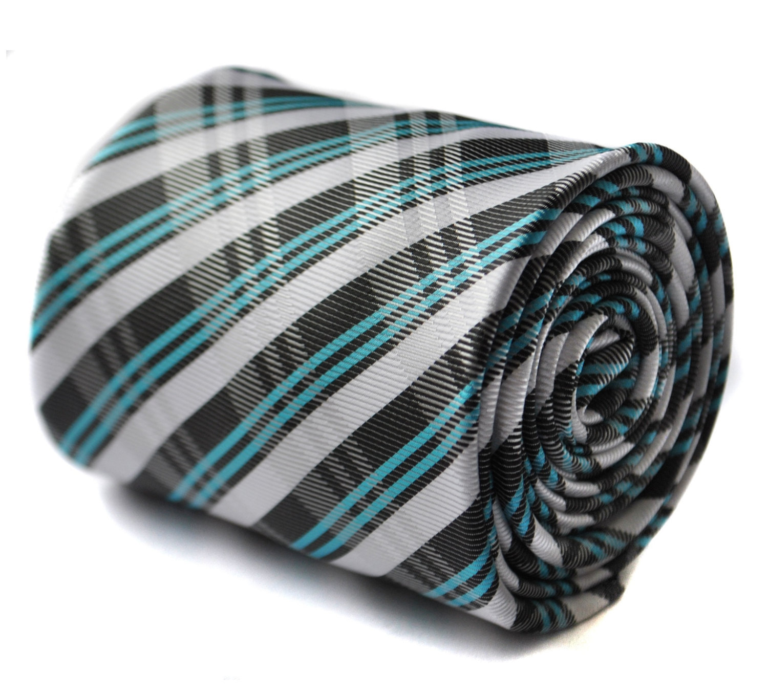 Turquoise green, black and white checkered plaid tie with floral design by Frede