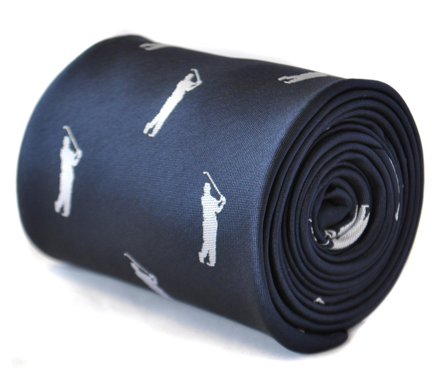 navy blue tie with golf player embroidered design with signature floral design t
