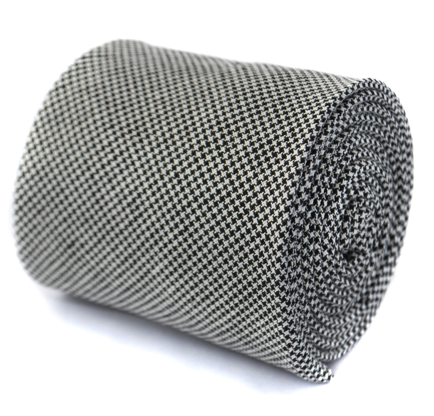 black and white dogstooth wool textured tie 6.5cm by Frederick Thomas FT1975