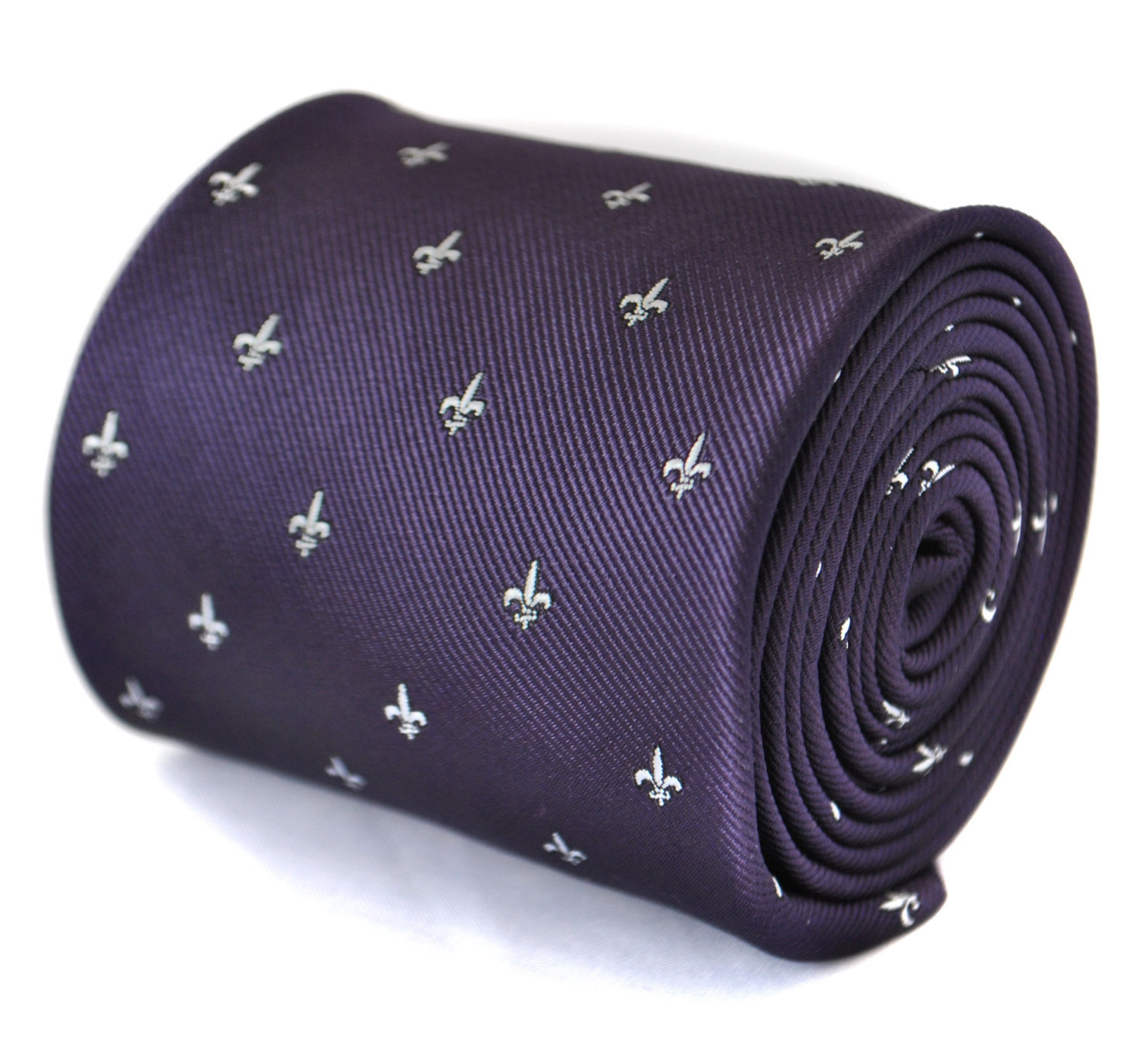 dark purple tie with fleur de lis design with signature floral design to rear by