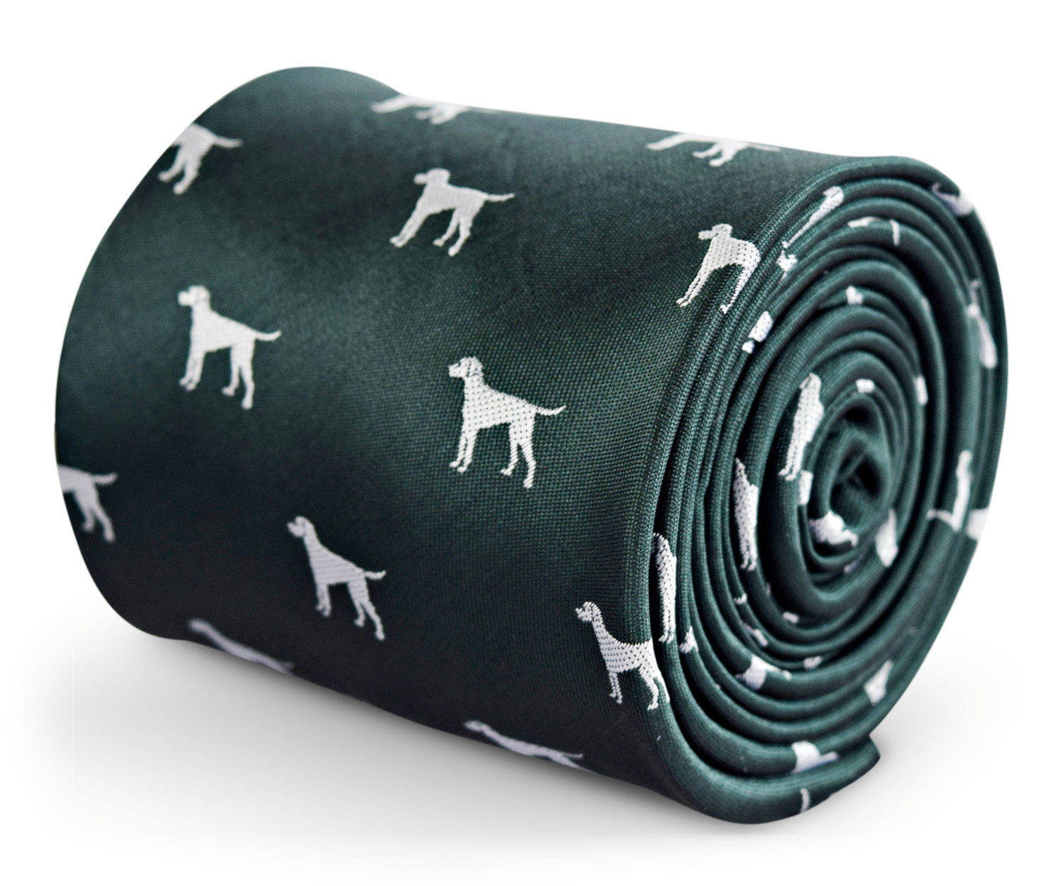 dark green mens tie with white dog print for Epsom canine rescue with signature