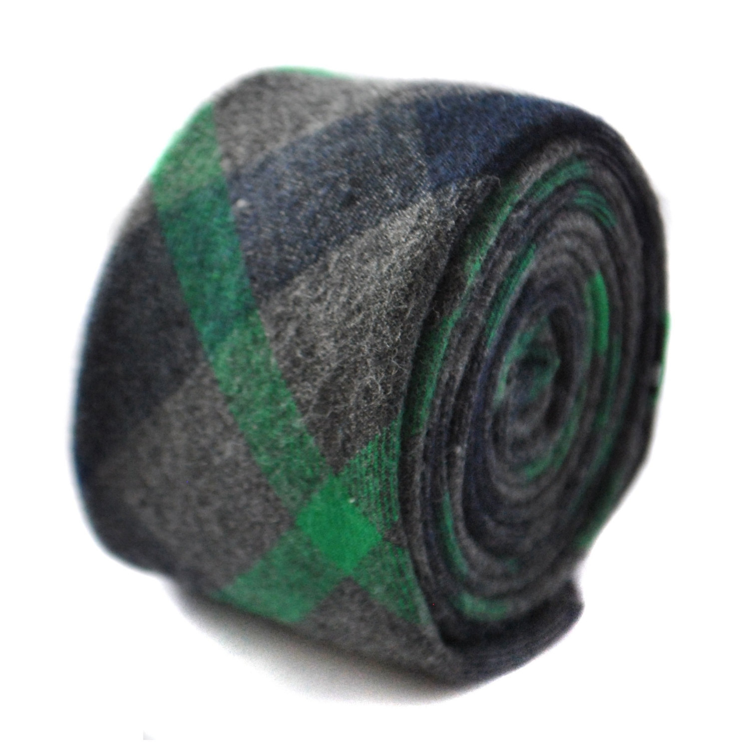dark green and grey wool check style tie by Frederick Thomas FT1815
