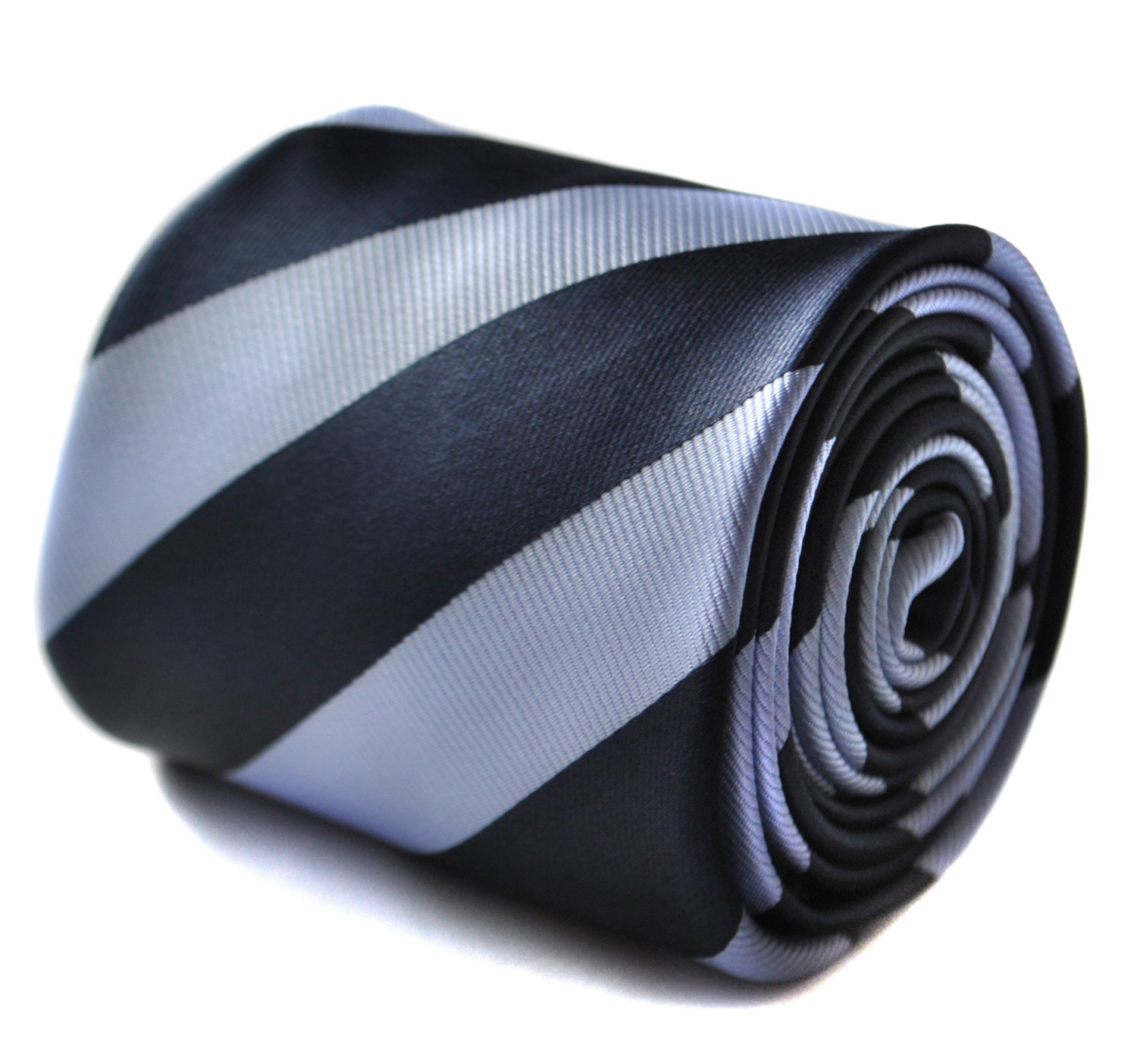 Navy and light blue barber striped tie with floral design to the rear by Frederi