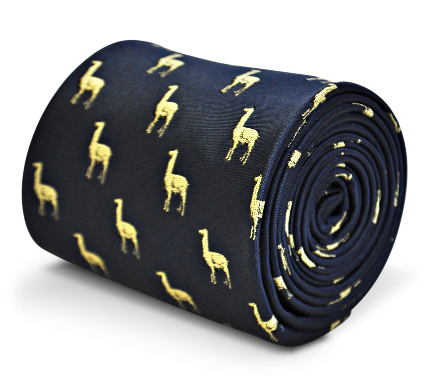 navy tie with llama embroidered design with signature floral design to the rear