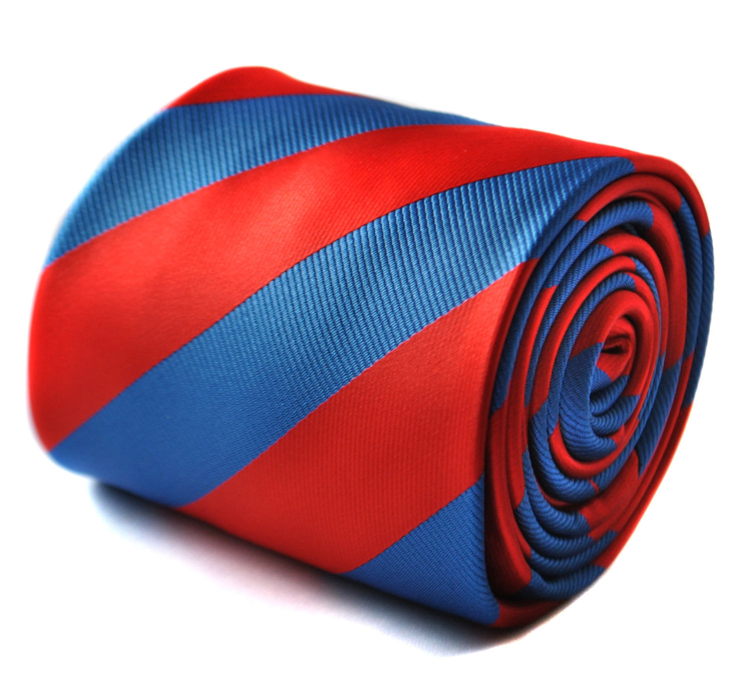 red and royal blue barber striped tie with signature floral design to the rear b