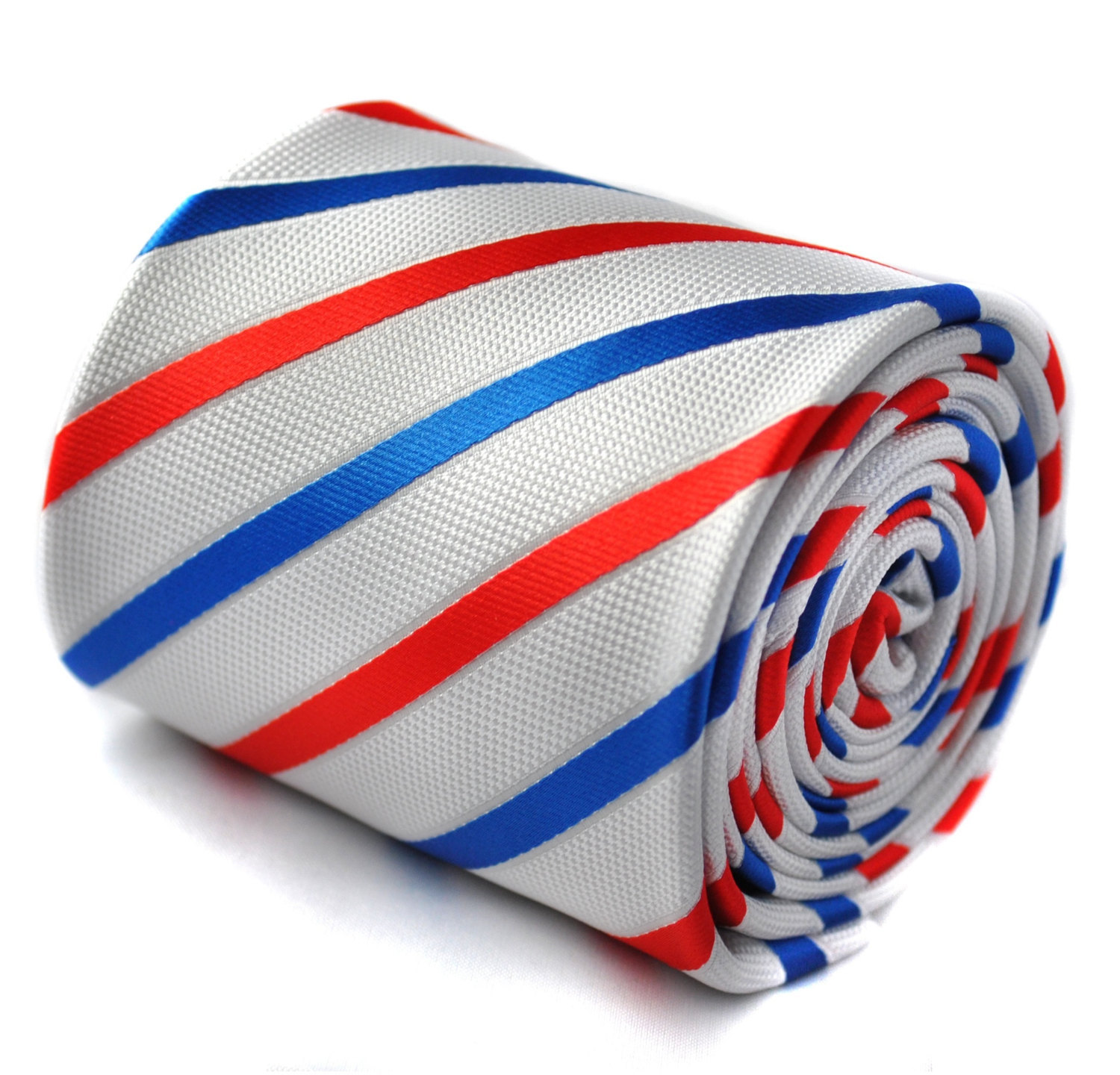 white with red and blue stripes tie with signature floral design to the rear by