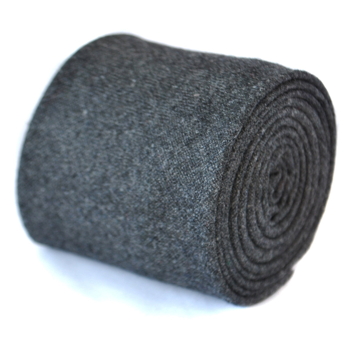 skinny plain dark grey 100% wool tie by Frederick Thomas FT2086